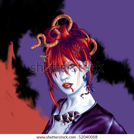 Halloween Geisha - stock photo