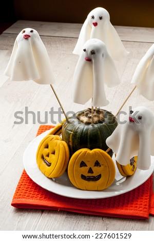Halloween ghost cookies - stock photo