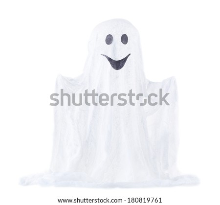 Halloween ghost, isolated on white - stock photo