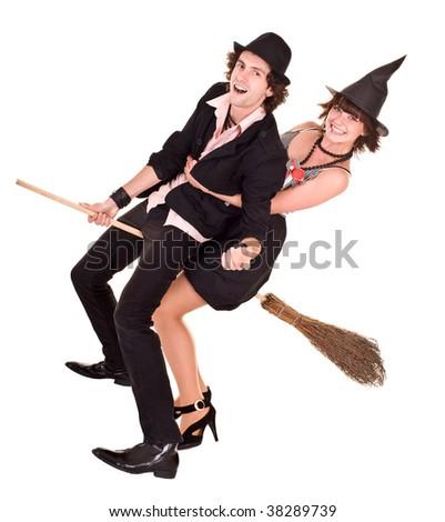 Halloween girl witch on broom bear man. Isolated. - stock photo