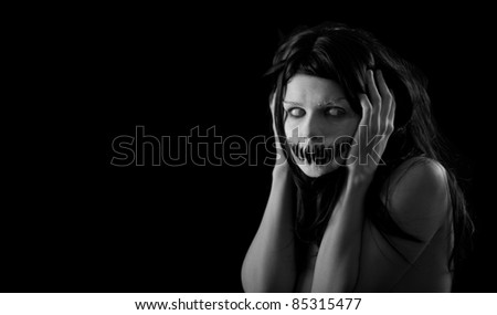 Halloween girl with scary mouth, extreme body-art - stock photo