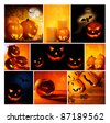 Halloween glowing pumpkins collage, holiday background, curved decoration creative design, traditional jack o lantern candles - stock photo
