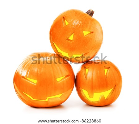 Halloween glowing pumpkins isolated on white background, traditional spooky jack-o-lantern, american autumn holiday - stock photo