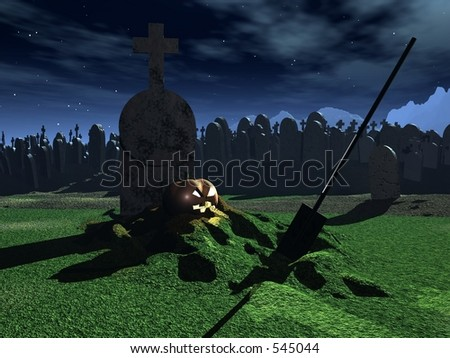 Halloween Grave - stock photo