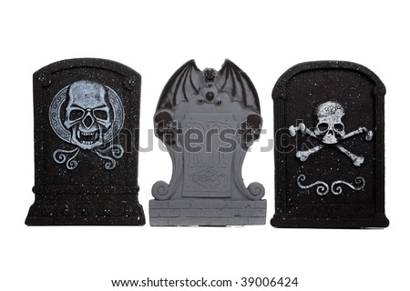 Halloween grave stones on a white background - stock photo