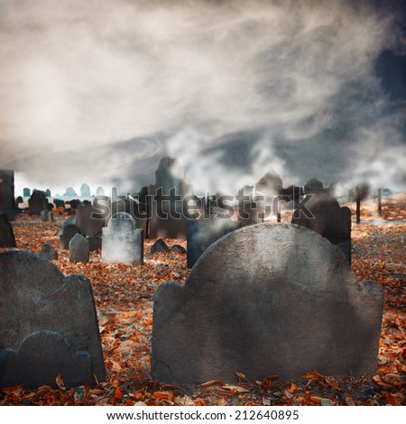 Halloween graveyard background - stock photo