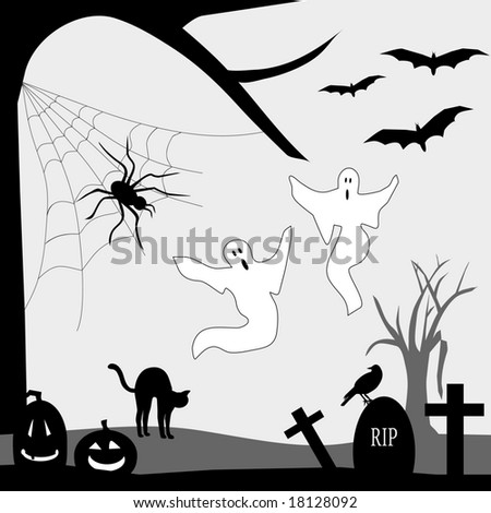 Halloween Graveyard is original artwork.