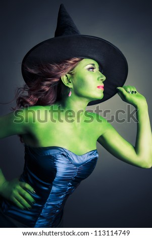 Halloween green witch on a grey background - stock photo