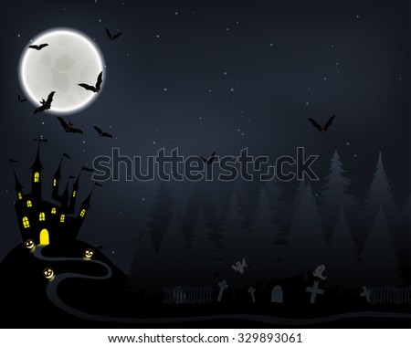 Halloween Greeting (Invitation)  Card. Elegant Design With Castle in Fir Forest, Flying Bats, Moon and Cemetery With Ghosts  Over Grunge Dark Blue Starry Sky Background. Raster Illustration.