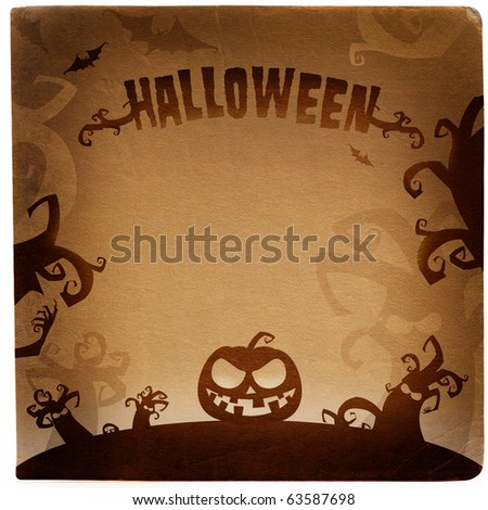 Halloween grunge illustration with place for text - stock photo
