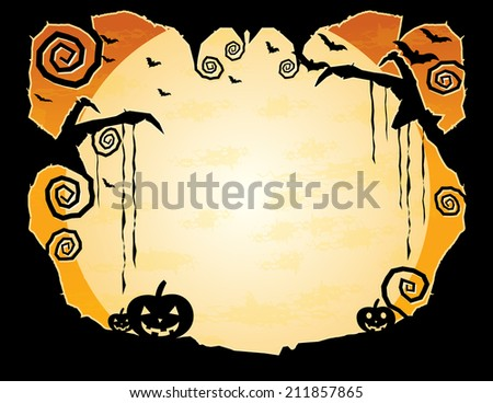 Halloween Grungy Background- Night sky with flying bats and a huge moon surrounded by a gnarled tree frame  - plenty of copy space - stock photo