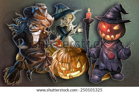Halloween hand drawn illustration with Jack O Lantern and his company on the textured background with carved pumpkins - stock photo