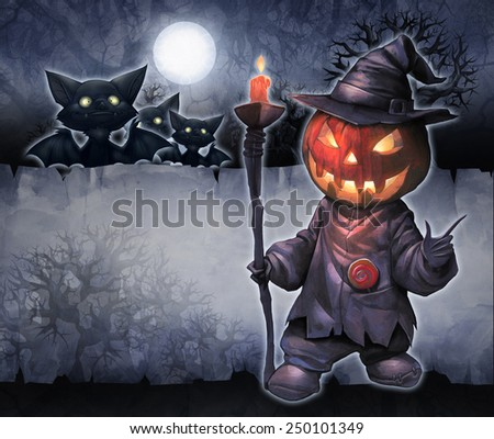Halloween hand drawn illustration with Jack O Lantern on the textured background with night scene, moon and bats