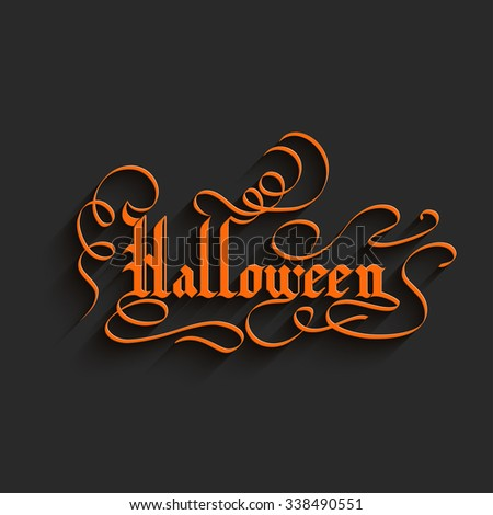 Halloween Hand lettering Greeting Card. Typographical Background. Handmade calligraphy. 3d Gothic Font with Shadow - stock photo