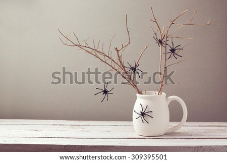 Halloween holiday background with spiders - stock photo