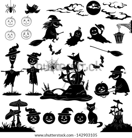 Halloween holiday cartoon, set of objects, animals and characters: pumpkins, witch, voodoo castle of grebes mushrooms and more. Black silhouettes on white background. - stock photo