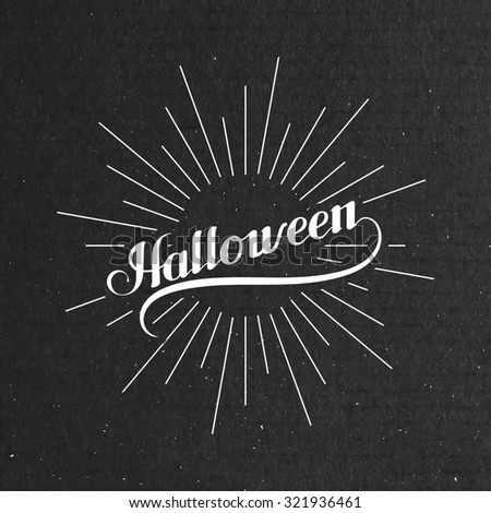 Halloween. Holiday Illustration. Lettering Composition With Light Rays - stock photo