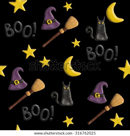 Halloween holiday objects plasticine handmade pattern. Black cat cartoon character, moon, stars, witch hat, broom and boo lettering made of modeling clay on black background. Seamless background. - stock photo