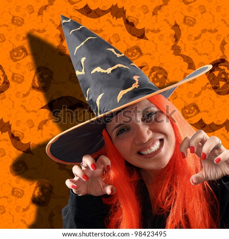 Halloween holiday with a witch sorcery