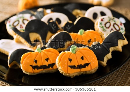 Halloween homemade gingerbread cookies background - stock photo