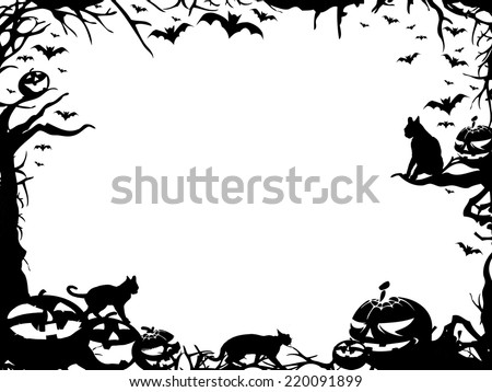 Halloween horizontal frame border isolated on white - stock photo