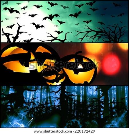 halloween horizontal symbols - pumpkin bats forest background illustration - stock photo