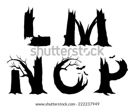 Halloween horror alphabet letters LMNOP - stock photo