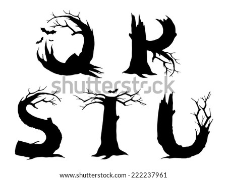 Halloween horror alphabet letters QRSTU - stock photo