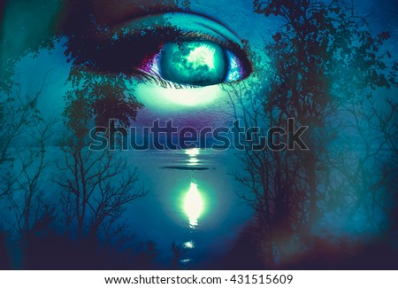 Halloween horror night on blue background. Double exposure portrait of eye combined with silhouette of spooky forest with moon and river. the moon taken with my own camera, no NASA images used. - stock photo