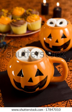 Halloween hot chocolate with marshmallow  eyes