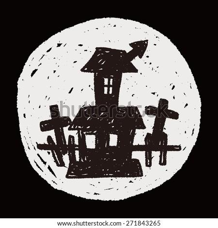 halloween house doodle - stock photo