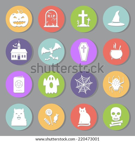 Halloween icons set, flat design