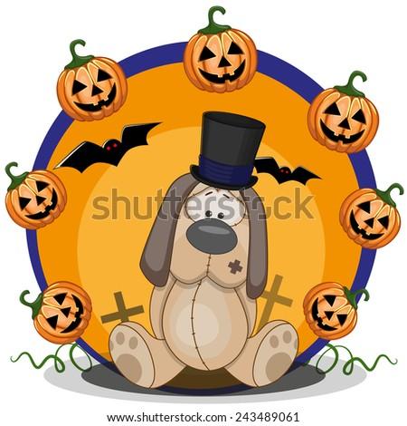 Halloween illustration of Cartoon Dog with pumpkin  - stock photo