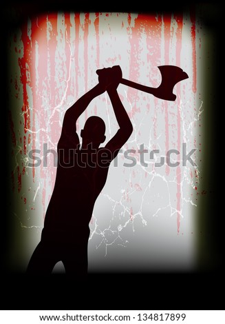 Halloween illustration, with a ghostly axe man at a blood drenched window - stock photo
