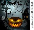 Halloween illustration with full Moon, Jack O'Lantern, scary house, headstones and bats - stock photo