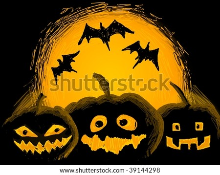 Halloween illustration with pumpkins and bats