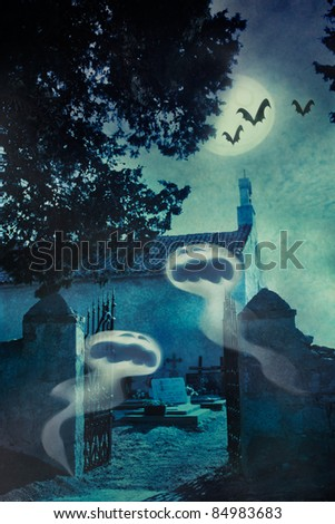 Halloween illustration with spooky ghosts  in front of the graveyard entrance gate and chapel, bats and full moon in the background - stock photo
