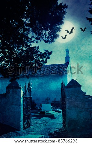 Halloween illustration with spooky graveyard and full moon - stock photo