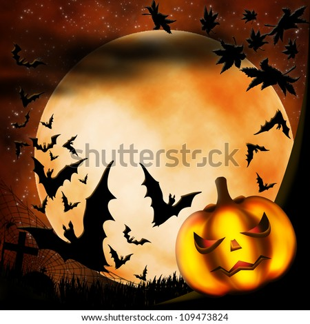 Halloween illustration with terrible pumpkin, moon and bats