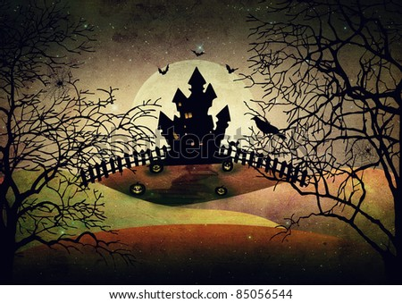 Halloween illutration with dark objects - stock photo