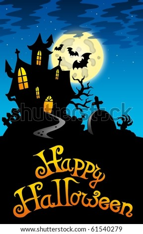 Halloween image with old mansion - color illustration. - stock photo