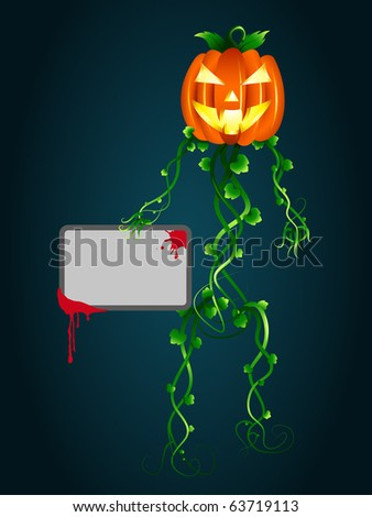 "Halloween invitation. ""Human-pumpkin"" with a cardboard in hand. Vector version available in my gallery."