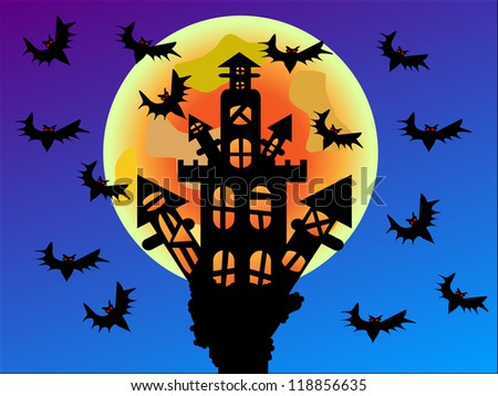 Halloween is here, in a dark house with a sky full of bats/Halloween castle - stock photo