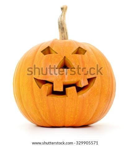 Halloween Jack Lantern Pumpkin isolated on white background.  - stock photo
