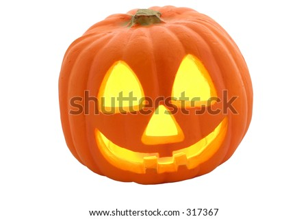 Halloween Jack-O-Lantern isolated. - stock photo