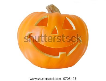Halloween Jack-O-Lantern isolated on pure white background - stock photo