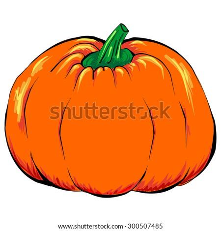 Halloween jack-o-lantern orange pumpkin vegetable isolated - stock photo