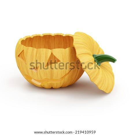 Halloween Jack O Lantern Pumpkin isolated on white background - stock photo