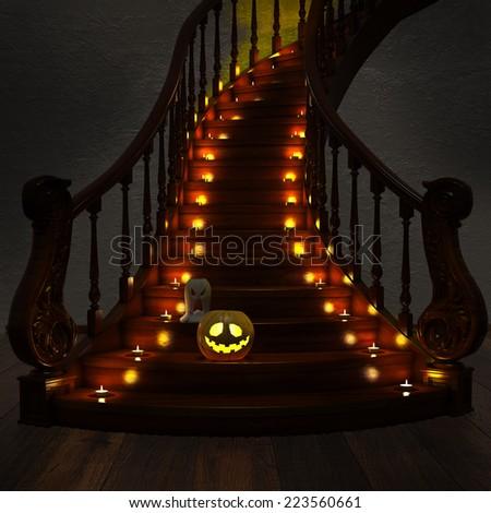 Halloween Jack-O-Lantern Pumpkin on the stairs. High resolution. 3D render - stock photo