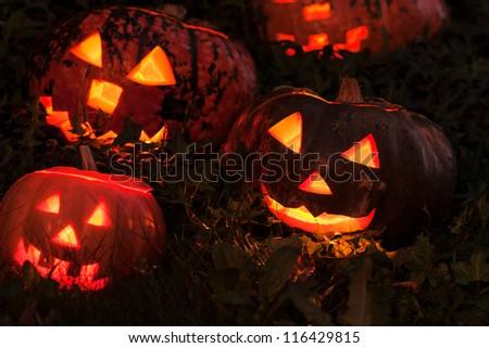 Halloween Jack-o-Lantern Pumpkins - stock photo